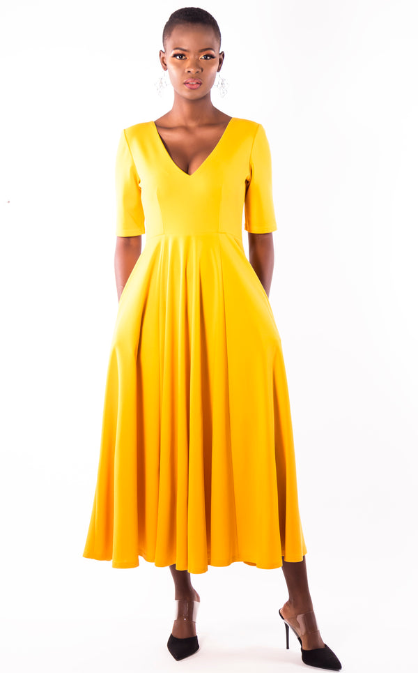 Ruby Flare Dress - Yellow Summer V Neck Dress