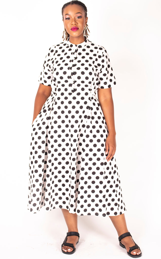 Mathlo Dress - Black and White Polka Dot Dress