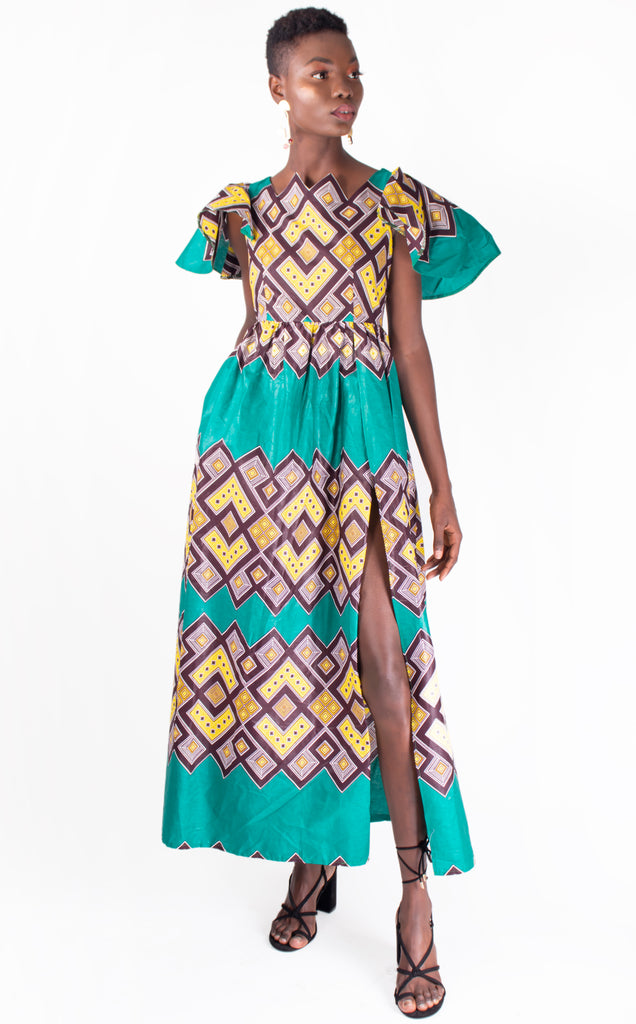 Kgosikgadi- Maxi Dress With A Slit, Flounce.Sleeves