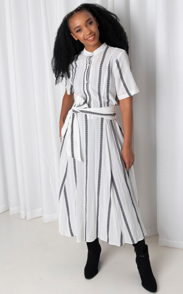 Mathlo Dress - White and Navy Maxi Shirt Dress