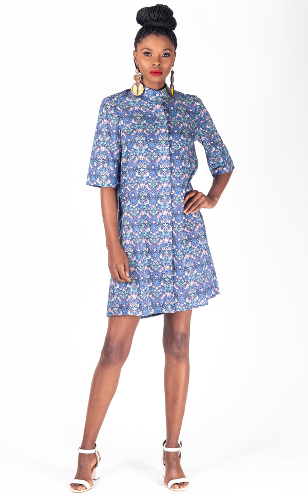 Patterned Shirt Dress