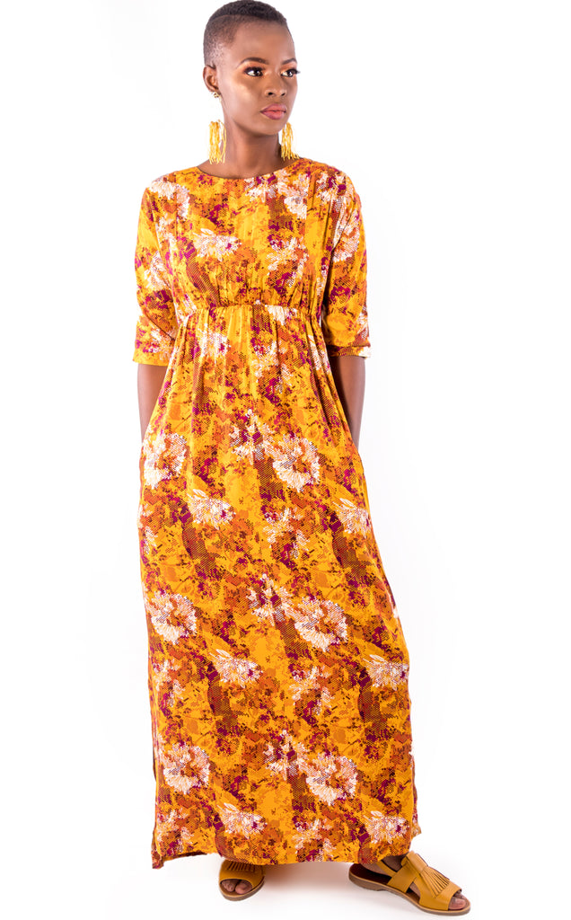 Nsama Dress - Orange Floral Maxi Dress