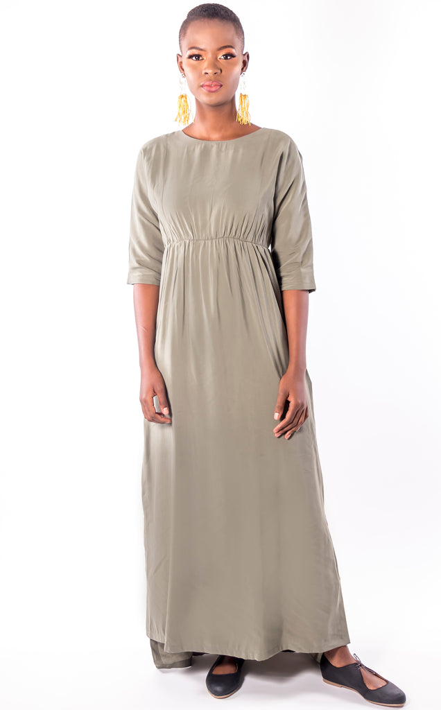 Nsama Dress - Olive Maxi 3/4 Sleeve Dress