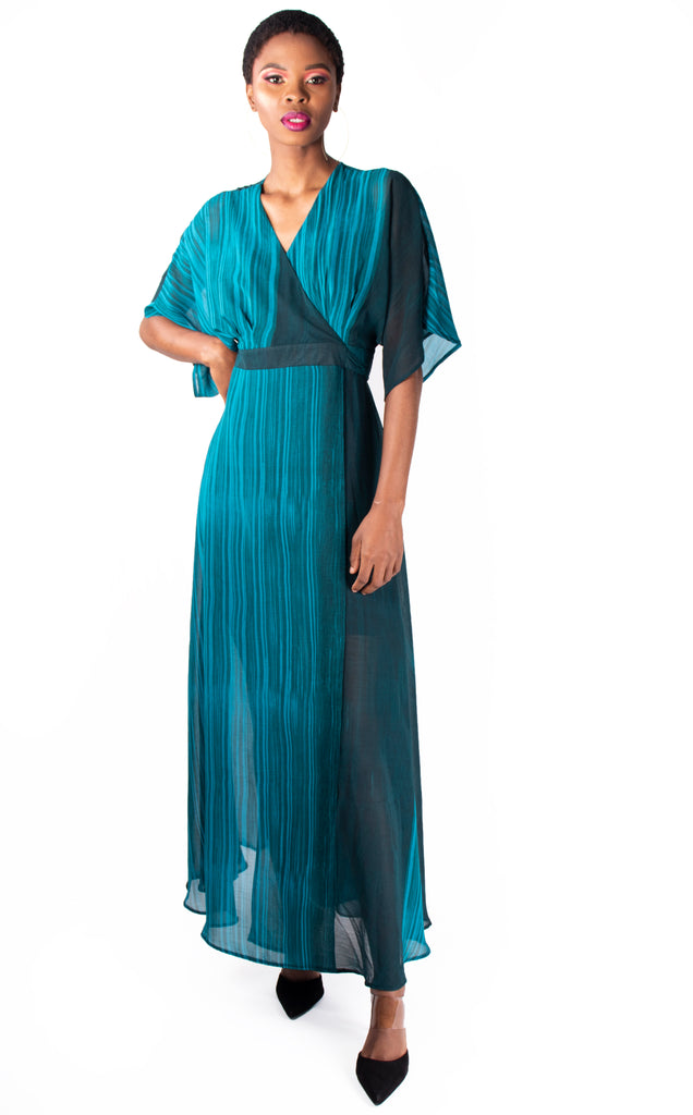 Balcony Dress - Blue Maxi V Neck Wrap Dress