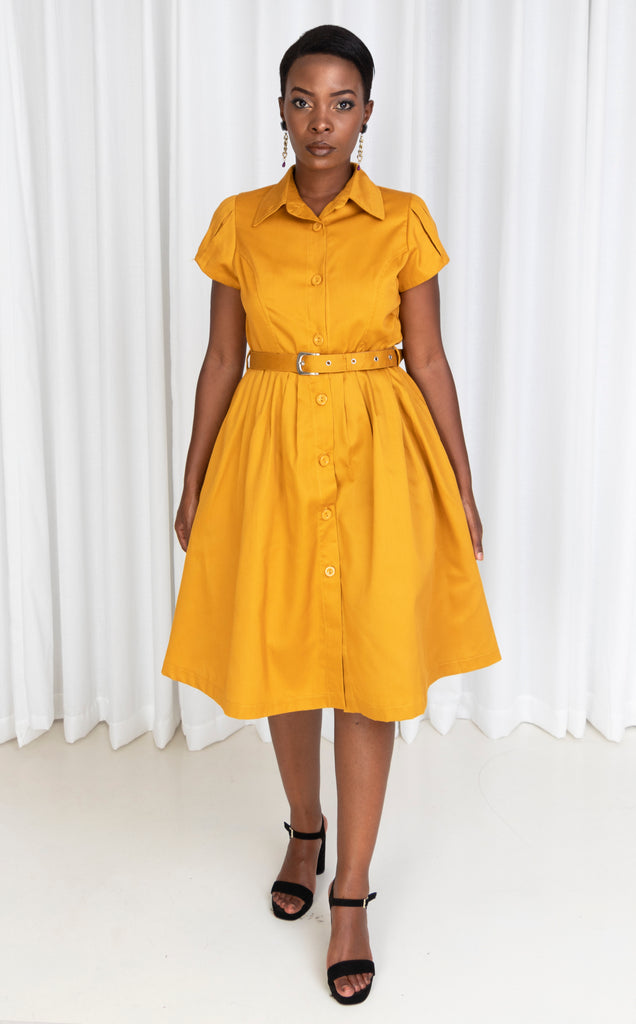 Mustard Pleated Shirt Dress