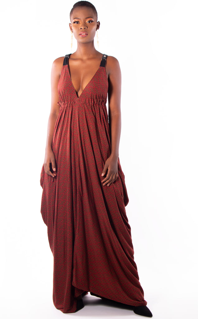 "Reversible red & black ""Sakura"" maxi dress with leather straps"