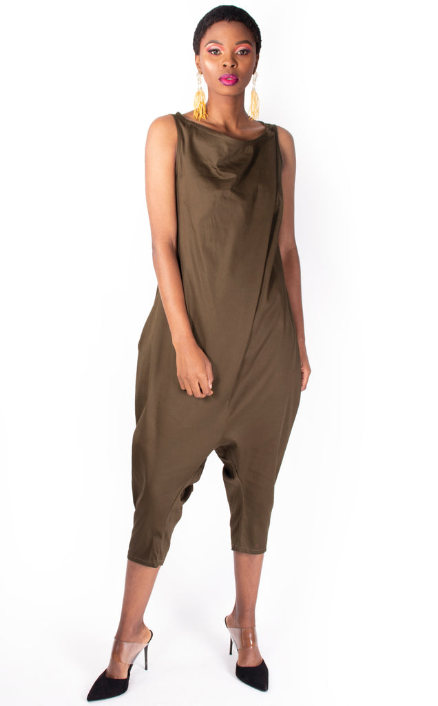 Selje Playsuit - Olive Dye Sleeveless Capri Jumpsuit