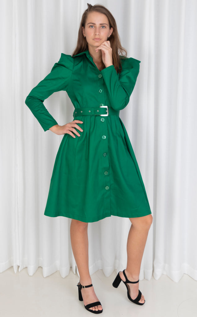 Green Long Sleeves Pleated Shirt Dress