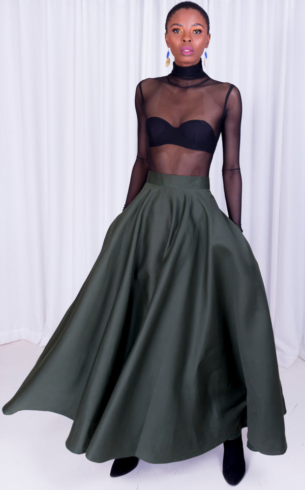 Olive Maxi Flared Skirt