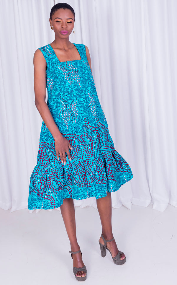 Manyoya Dress- Sleeveless Dress With Gathered Pleat