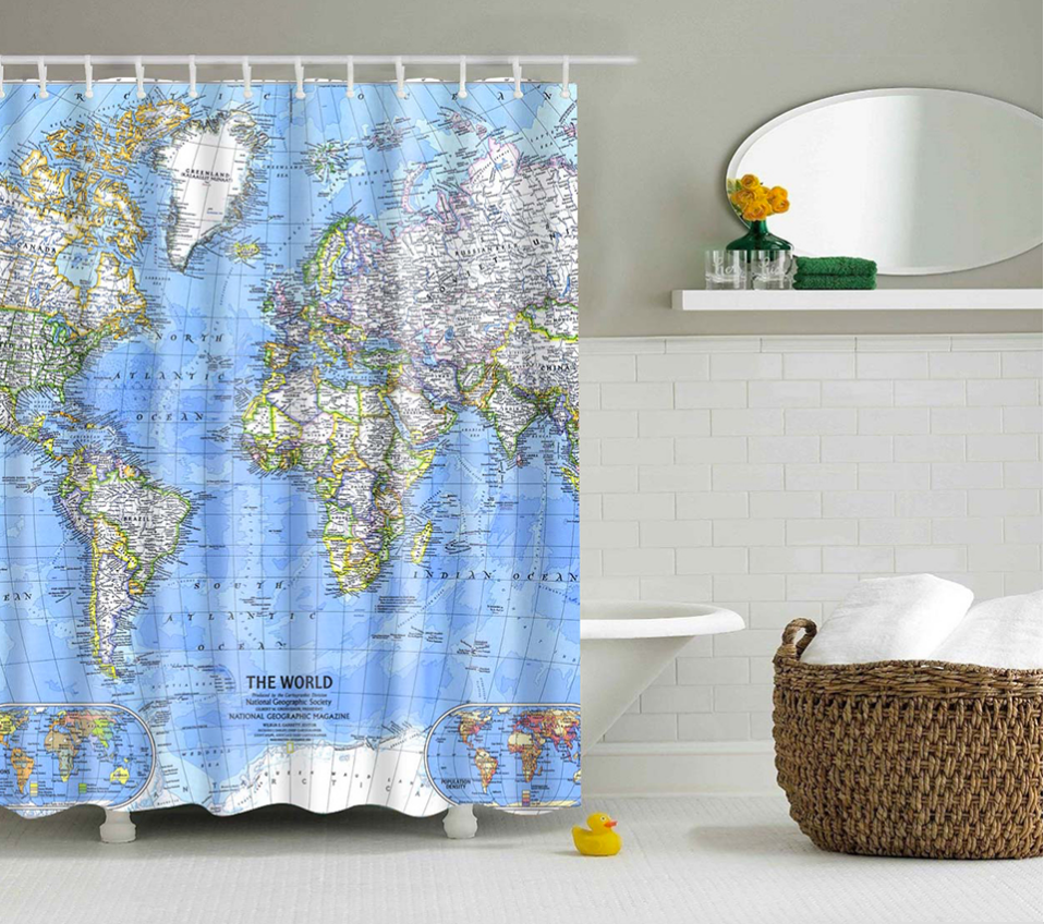 World map shower curtain trendgearnow world map shower curtain gumiabroncs Images