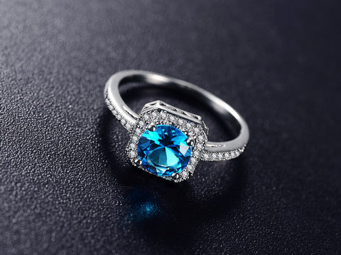 Blue Zircon December Birthstone Ring