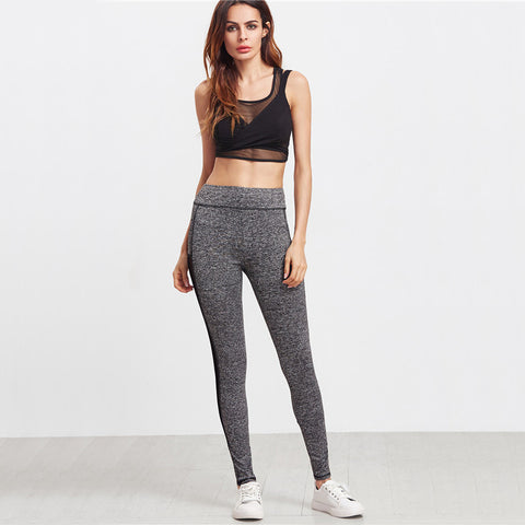 High Waisted Grey/Black Marled Knit Leggings