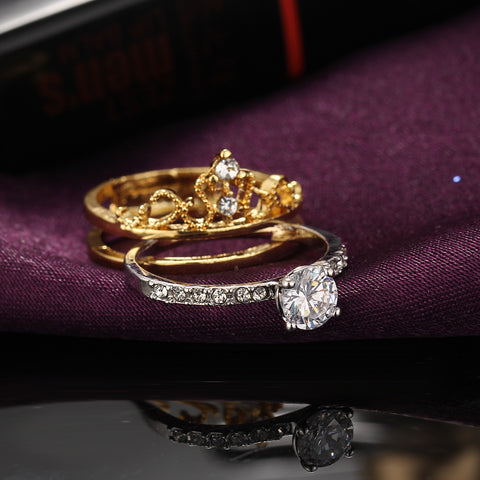 Luxurious Queen's Crown Birthstone Ring