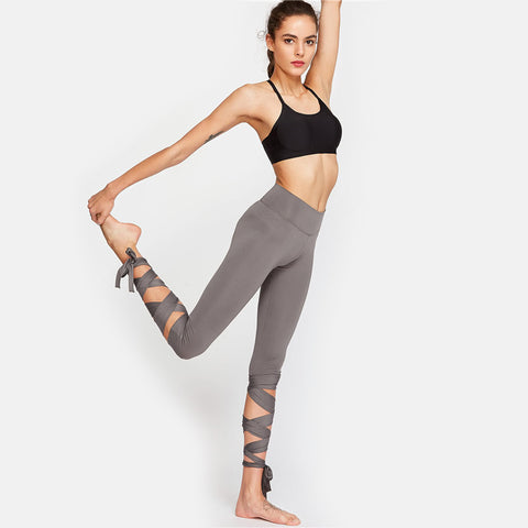 Elegant High Waisted Crisscross Tie Up Leggings