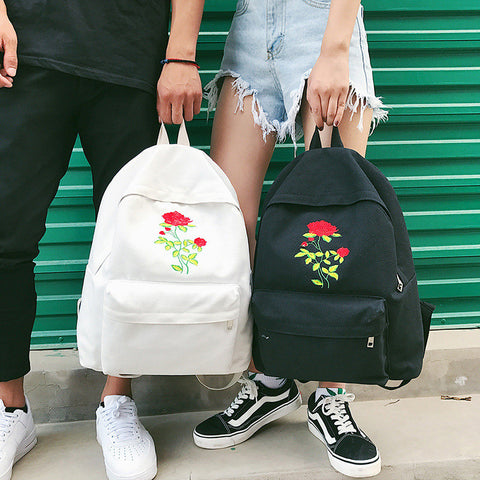 """Wild Rose"" Embroidered Vintage Backpack"