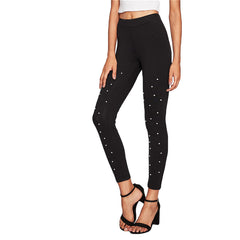 High Waisted Pearl Beaded Leggings