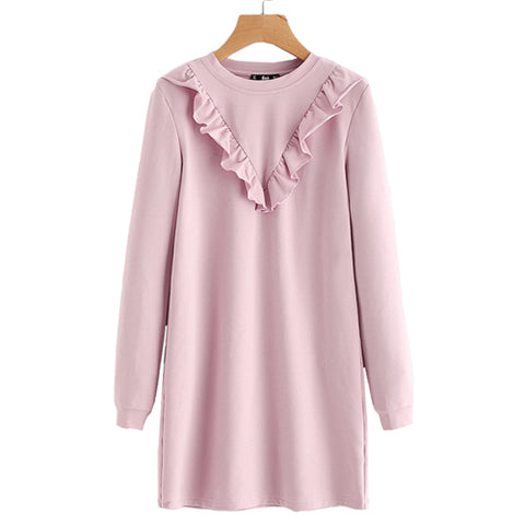 Pink Frill Trim Sweatshirt Dress