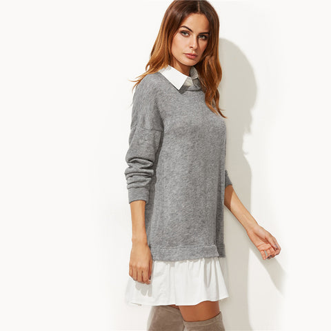 Contrast Collar Sweatshirt Dress