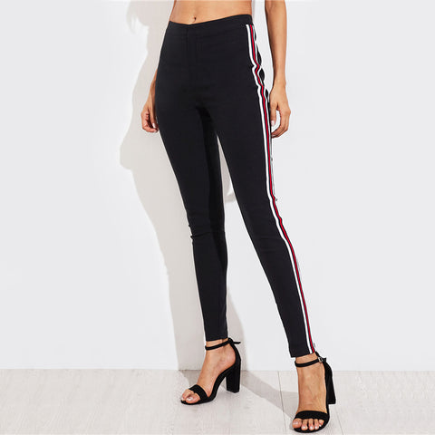 High Waisted Side Striped Skinny Pants