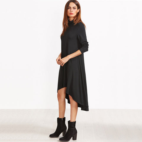Black Cowl Neck Long Sleeve Dress