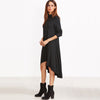 Image of Black Cowl Neck Long Sleeve Dress