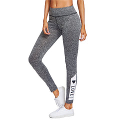 Grey Love Print Leggings