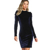 Image of Long Sleeve Navy-Velvet Pencil Dress