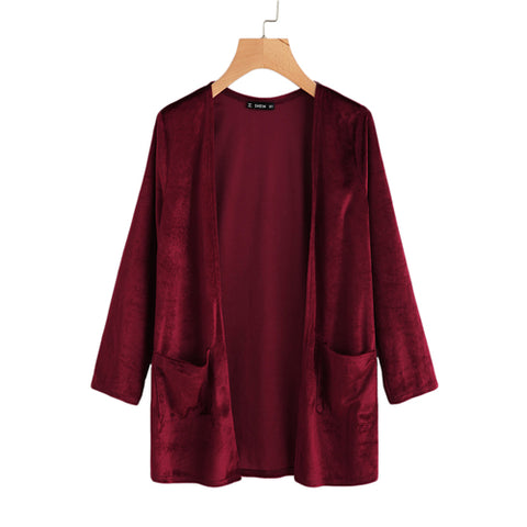 Pocket Front Burgundy Velvet Coat