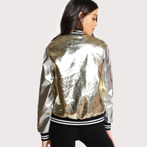 Faux Leather Golden Bomber Jacket