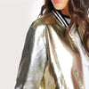 Image of Faux Leather Golden Bomber Jacket
