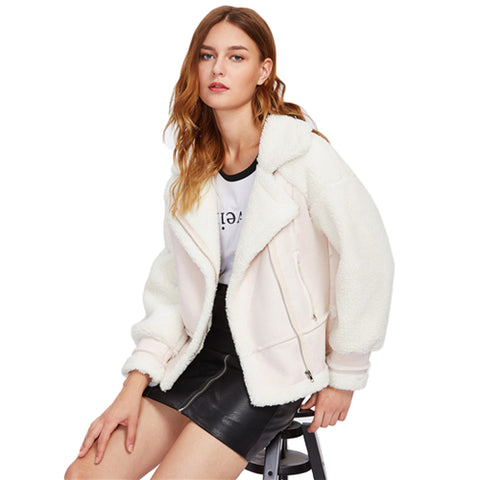Lapel Zip Up Sherpa Coat