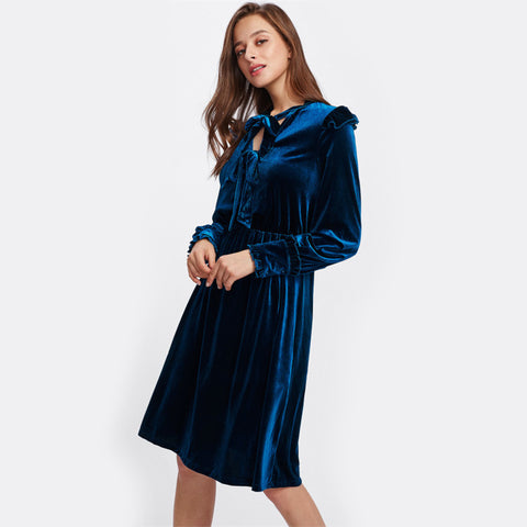 Royal Navy Bow Tie Velvet Dress