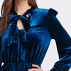 Image of Royal Navy Bow Tie Velvet Dress
