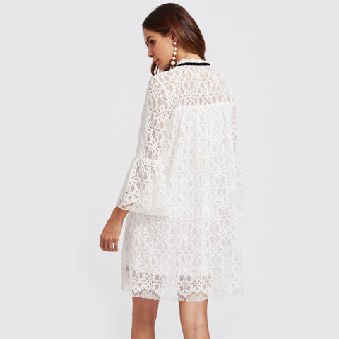 Laced Trumpet Sleeve Dress