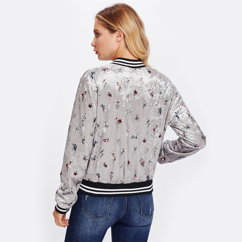 Zip Up Floral Bomber Jacket
