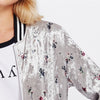 Image of Zip Up Floral Bomber Jacket