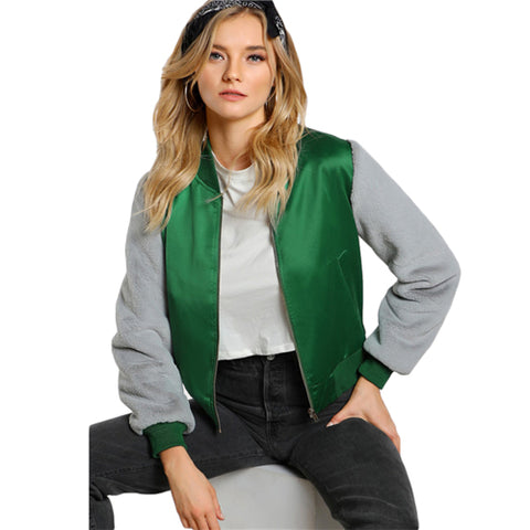 Faux Fur Sleeve Bomber Jacket