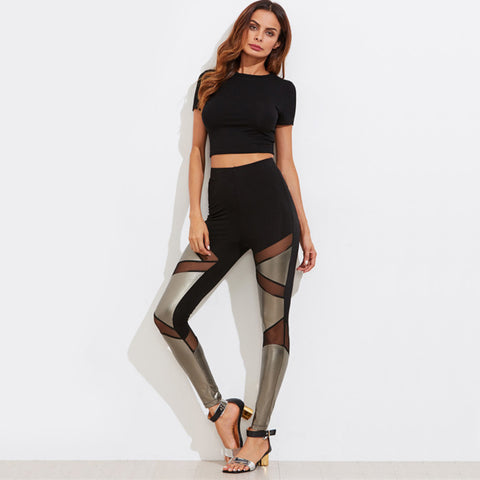 High Waisted Black/Silver Two Toned Leggings