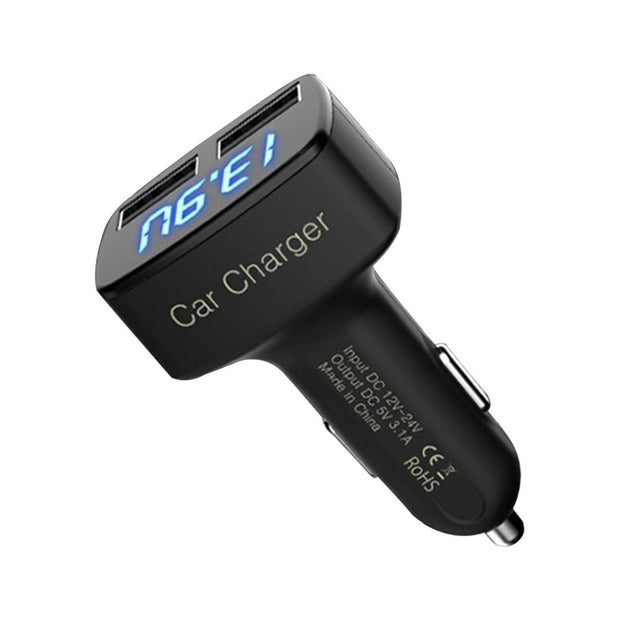 4 in 1 Car Charger Dual USB Voltmeter