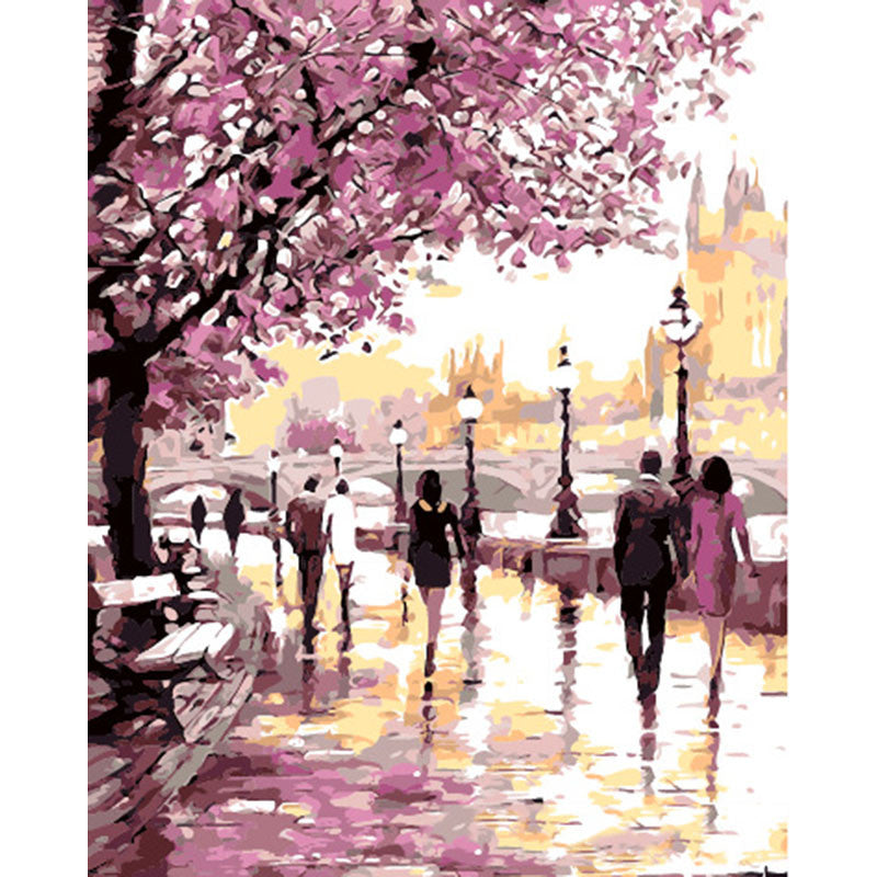 Frameless Cherry Blossoms Oil Painting for Home or Office