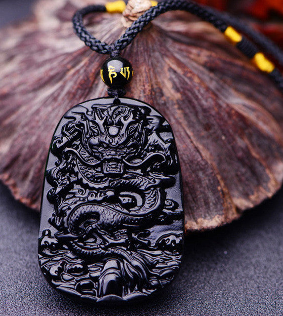 Black Obsidian Carved Lucky Dragon Amulet