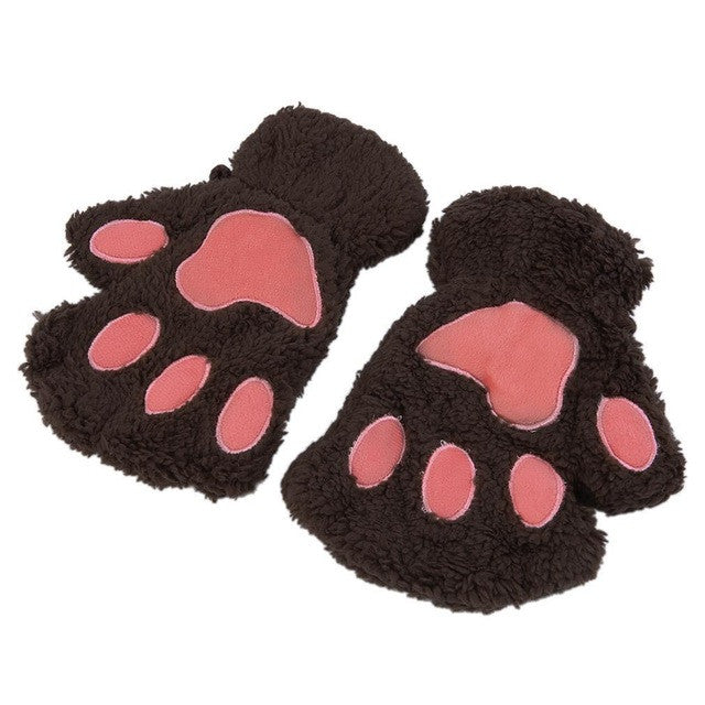 Cat Claw Paw Half Finger Plush Gloves