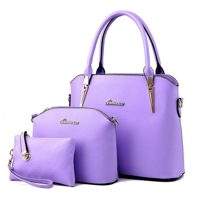 Leather Handbag Set for Women – 3pc