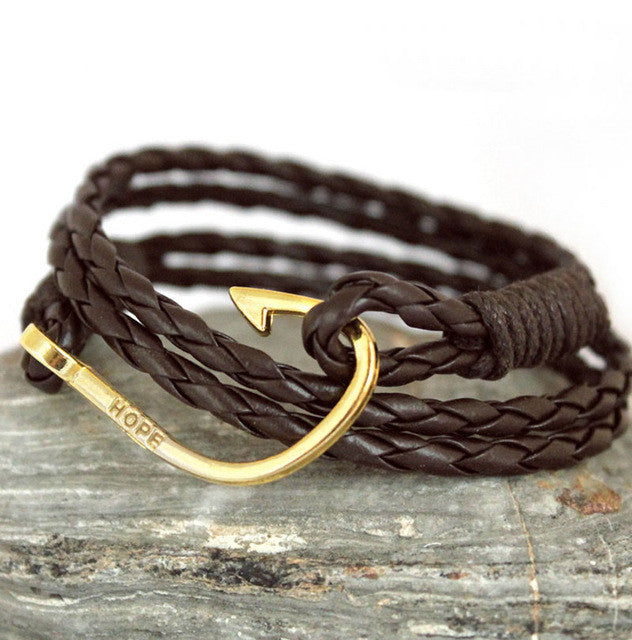 Vintage Retro Fish Hook Leather Bracelet