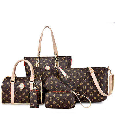 Luxury PU Leather Handbags for Women - 6pcs/set