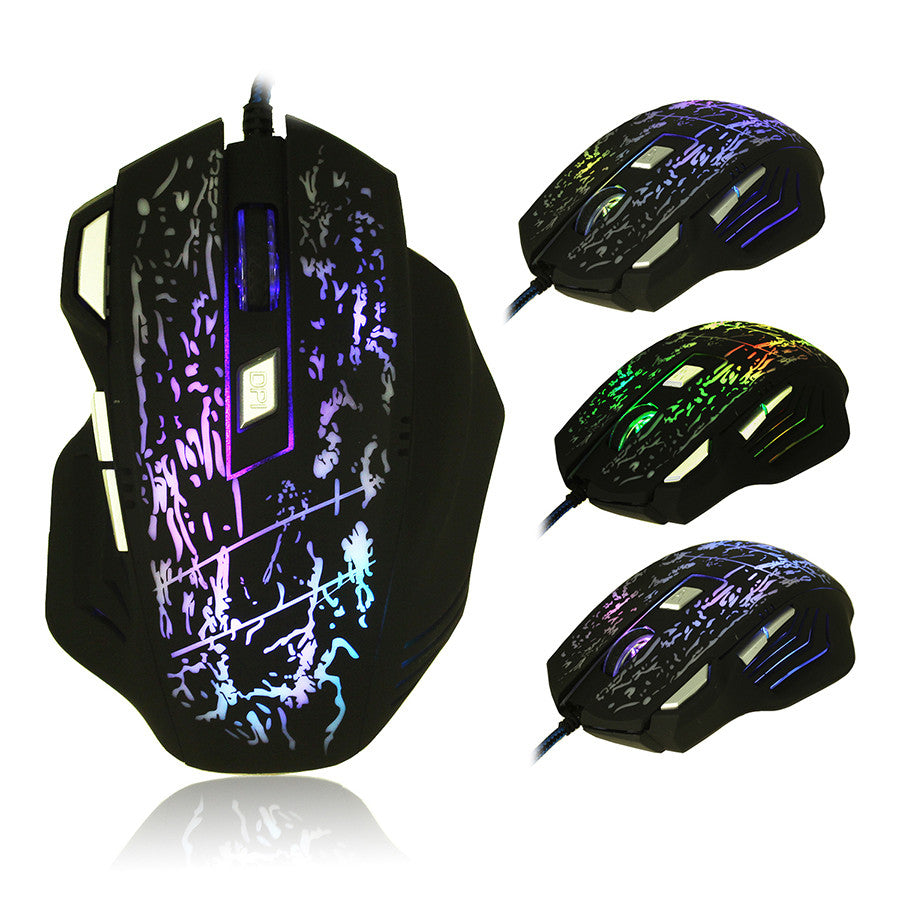 LED Optical Wired USB Mouse - 7 Buttons, 7 Colors