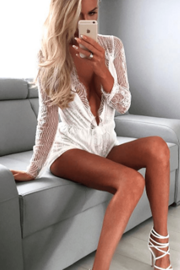 Lace V-Neck Playsuit