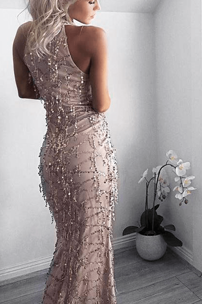 High Neck Sequin Maxi Dress
