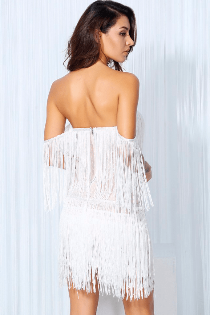 Off Shoulder Tassel Dress